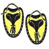 GFEU 1 Paio di Palette Professionali Elite per Le Dita, per l'allenamento del Nuoto, Adatto per Uomini, Donne e Bambini, Uomo, Yellow, S