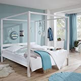 Lomado Himmelbett massiv weiß lackiert ● Liegefläche 90x200cm ● Jugendbett Gästebett Einzelbett