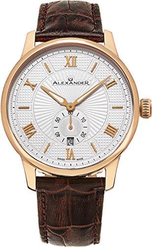 alexander-statesman-regalia-or-rose-en-acier-inoxydable-ton-cas-sur-bracelet-en-relief-en-cuir-vrita