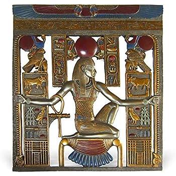 bas relief gyptien horus et anubis encadrant le pharaon. Black Bedroom Furniture Sets. Home Design Ideas