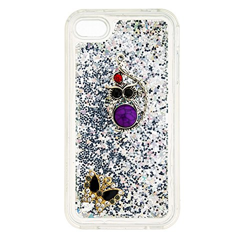 Qiaogle Diamond Case - Weiche TPU Flowing Liquid Floating Glitter Stars Quicksand Case Schutzhülle Cover für Apple iPhone 5 / 5G / 5S / 5SE (4.0 Zoll) - YB48-06 Pink Series / Eule + Schmetterling YB48-04 Argent Series / Eule + Schmetterling