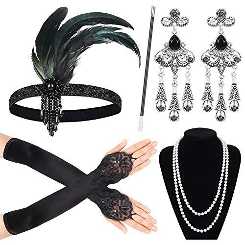 Sinoeem 1920s Kostüm Damen Flapper Accessoires Set 20er Jahre Halloween Kostümzubehör Inklusive Stirnband Halskette Handschuhe Ohrringe Zigarettenhalter Set (Set-3) -