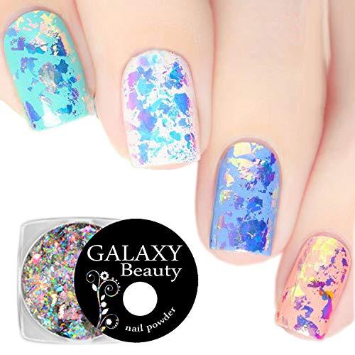 Galaxy Beauty Aurora - Escamas de uñas con efecto de cristal roto con purpurina en polvo de unicornio arco iris, perlas de sirena