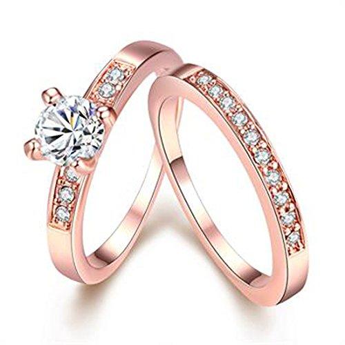 Damen Modeschmuck Ring Ehering Verlobungsring mit CZ Kristall Strass Rosegold 1 Paar (3 Mm Ehering)