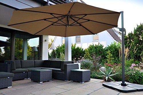 Zangenberg Ampelschirm Sonnenschirm Monaco 350 cm taupe braun/grau