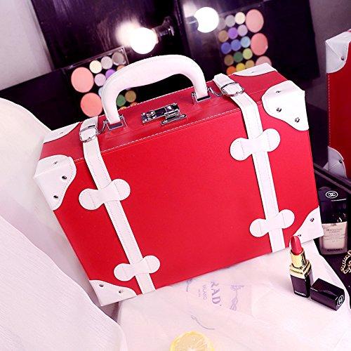 Boîte de rangement cosmétique sac cosmétique cosmétiques plein air voyage mode bain organisateur de maquillage maquillage stockage de brosse de maquillage cadeau de petite amie surprise garçons pour les filles porte-rouge à lèvres sac portable imperméable femme-rouge