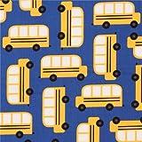 Tela azul oscuro autobús escolar amarillo de Robert Kaufman Back to School