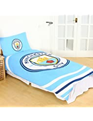 Manchester City FC Pulse housse de couette simple et taie d'oreiller ensemble