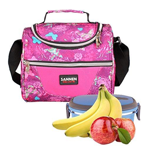 WHT Isolierte Kühltaschen,Kinder Schul Lunch Bag Kinder Picknick Tasche Mittagessen Tote mit Schultergurt für Frauen Männer Jungen Mädchen(Rose (Jungen-mittagessen-tasche Schultergurt)