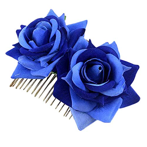 Bobopai Beautiful Ladies Bridal Flower Hair Comb Wedding Accessories Red Rose Hairpin Hair Clip Gift Jewelry (Blue) (Bands Womens Blue Wedding Diamond)