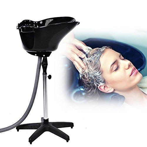 Professional Friseur Waschbecken, Rückwärtswaschbecken Mobiles Waschsessel höhenverstellbar Schwarz, Haar Becken Friseur Salon Schüssel Kunststoff Shampoo Haarbehandlung Beauty Tools (Friseur-shampoo-stuhl)