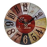 zolimx Estilo Vintage Sin Hacer Tictac Reloj de Pared de Madera Antigua Silenciosa para Oficina de