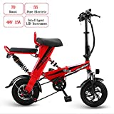 W&TT Pieghevole Bici elettrica per Adulti 48V 15AH 350W Doppia E-Bike con 55KM Gamma e velocità Massima 25km/h, Doppi Freni a Disco 12'Bicicletta pendolari Bicicletta,Red
