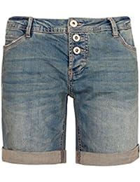 Sublevel Damen Bermuda mit Aufschlag   5 Pocket Jeans-Shorts   Lockere Kurze  Hose aus d3841c6af4