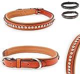Pear - Tannery Luxury-Line Hundehalsband aus weichem Vollrindleder, Versehen mit Einer Runden-Kristall-Verzierung mittig, L 43-53cm, Hellbraun
