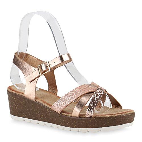 Damen Komfort-Sandalen   Lack-Optik Glitzer Metallic   Sommerschuhe   Plateau Sandalen Sandaletten   Kork Blumen Glitzer Rose Gold Prints