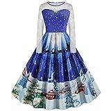 XINAINI Weihnachtskleid Damen - Pullover Rundhals Cocktailkleid - 1950er Vintage Elegant 3D Drucke Pullover Kleidung Weihnachtsmann Elch Schlitten Party Swing Festlich Kleid(XXXXL,Blau)