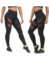 HARRYSTORE Mujer de secado rápido pantalones de yoga perspectiva de bragas huecos Mujer Pantalones elásticos