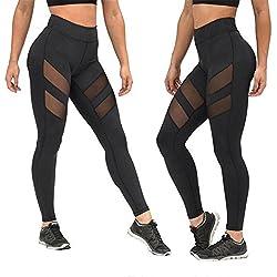 HARRYSTORE Mujer de secado rápido pantalones de yoga perspectiva de bragas huecos Mujer Pantalones elásticos (S)
