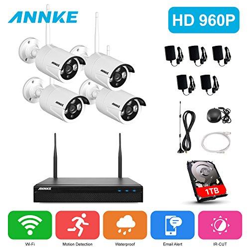 Annke 960P Funk Videoüberwachung 4CH Kabellose Wireless Überwachungssystem NVR Recorder mit 4 x 960P Funk Überwachungskameras für innen und außen Bereich 1TB Festplatte wetterfest