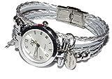 ARTemlos® Handmade Damen-Uhr aus Edelstahl, Metall und Leder in silber/grau