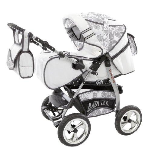 Lux4Kids King Kinderwagen Safety-Set (Autositz & ISOFIX Basis, Regenschutz, Moskitonetz, Getränketablett, Matratze, Wickelunterlage) 05 Snow & Silver Flowerpower