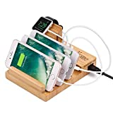 Apple Watch Stand Bamboo Charging Station for Multiple Devices, Yome Wood Docking Station