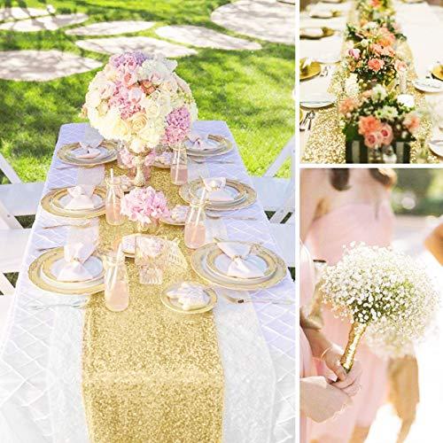 SayHia 12x108 Zoll Tischläufer dekorative Tischläufer Tischdecke für Geburtstagsfeiern Hochzeiten Baby Duschen (Gold)