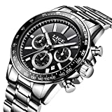Relojes para Hombre Acero Inoxidable Impermeable Reloj Hombres Marca LIGE Cronógrafo Cuarzo Analógico Reloj Vestido Negocios Pulsera Plata...