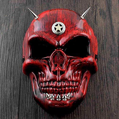 VAWAA Roter Schädel Gesicht Steampunk Maske Spikes Halloween Cosplay Kostüm Maskerade (Kostüm Masken Spike)