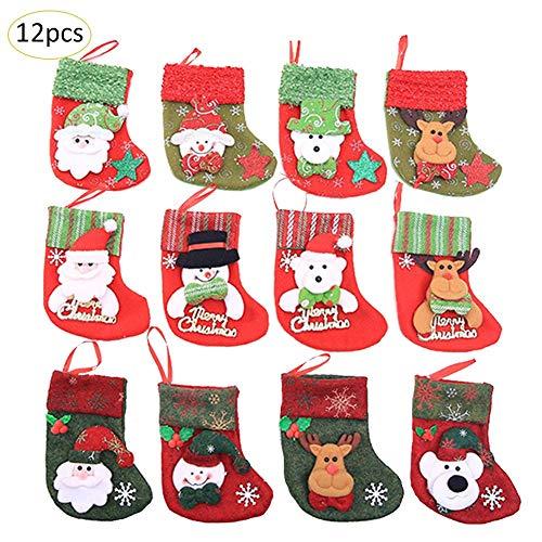 12pcs Weihnachtsdekorationen Weihnachtssocken Weihnachtsszene Socken Weihnachtsstrumpf Weihnachtsstrümpfe Geschenktasche Dekorationen Christbaumschmuck Weihnachten Mini Socken