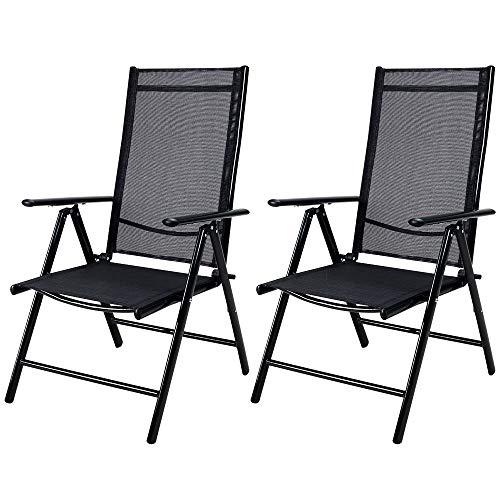 Set de 2 chaises en aluminium avec dossier haut réglable en 7 positions - Bern - chaise fauteuil de jardin