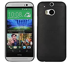 HOKO Ultra Thin Semi Transparent Hard Case Back Cover for HTC One (M8 Eye) (Black)