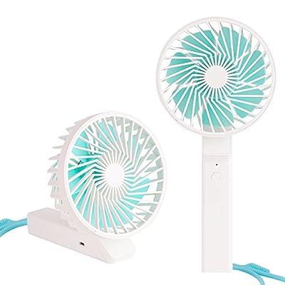 Aerb Mini Fan, Handheld Fan, Dual use for Desk Fan & USB Outdoor Fan,18650 Lithium Rechargeable Battery, 3 Speeds Operation -Blue