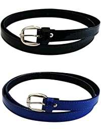 Verceys Black And Blue Quality Material Casual Belt For Women - Combo Of 2