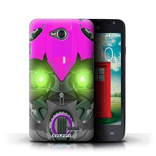 Kobalt® Imprimé Etui / Coque pour LG L65/D280 / Opta-Bot Jaune conception / Série Robots Bumble-Bot Violet