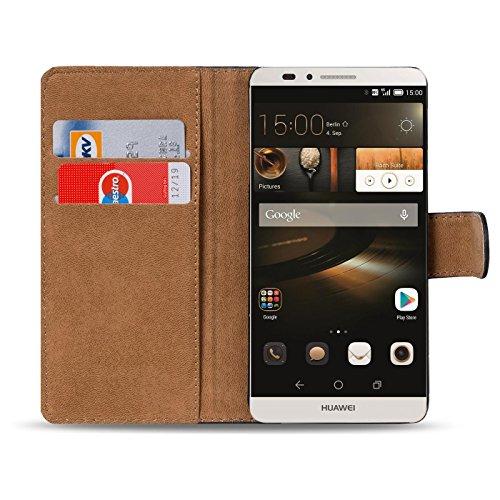 Conie Handyhülle für Huawei Ascend Mate 7 - Bookstyle- Klapp- Serie, Etui aus PU Leder, Huawei Mate 7 Booklet Flip Hülle Schwarz