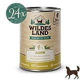 Wildes Land | Nassfutter für Hunde | Nr. 2 Huhn | 24 x 400 g | mit Karotten, Zucchini, Wildkräutern & Distelöl | Glutenfrei | Extra viel Fleisch | Beste Akzeptanz und Verträglichkeit