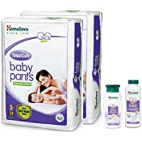 Himalaya Total Care Baby Pant Diapers Monthly Pack, Small 108 Count with Powder 100g and Bath 100ml