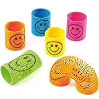 Angelo Morris Mini Smiley Springs 12 Pieces Colorful Mini Smile Face Springs Kids Toys for Party Bags Filler