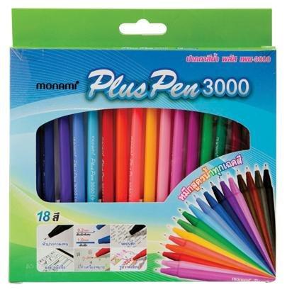 Monami Plus Stift 3000Wasser Basierend Fine Sign Pen Aqua Tinte 3Black 3Red 3Blue 3grün Dutzend Karton 12Stück -