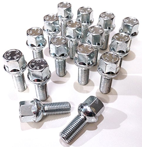 Boulons de roue en alliage, plaqué zinc M12 x 1,5 (M12 x 1,5) Radius Seat, 17 mm hexagonale, 26 mm Longueur du filetage. Lot de 16 Boulons de roue (Au001)
