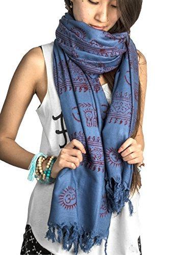 Tribe Azure Pañuelo estampado a mano de algodón suave de yoga para m