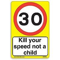 30mph y matar a su velocidad, no un niño [3x Pack]–A4pegatinas de vinilo, fondo de color amarillo ideal para cubos de la basura