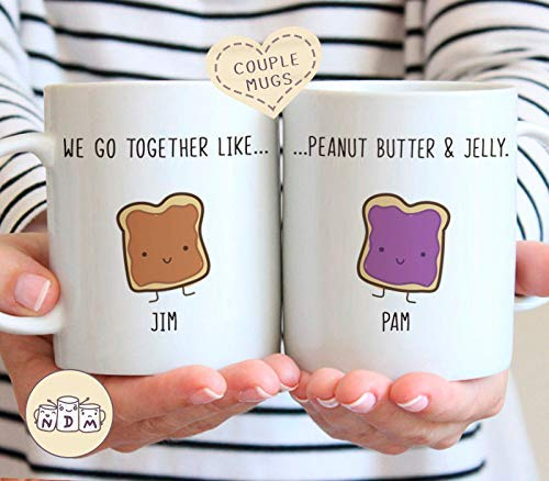 ChGuangm We Go Together Like Peanut Butter and Jelly Couple Mug Set Valentine Gifts for Boyfriend Gift Ideas for her Cute Gift for Girlfriend -