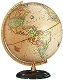 Columbus Globen, Classic Line, Renaissance Leuchtglobus, Dunkler Holzfuß und altmessingfarbener Kunststoff-Meridian