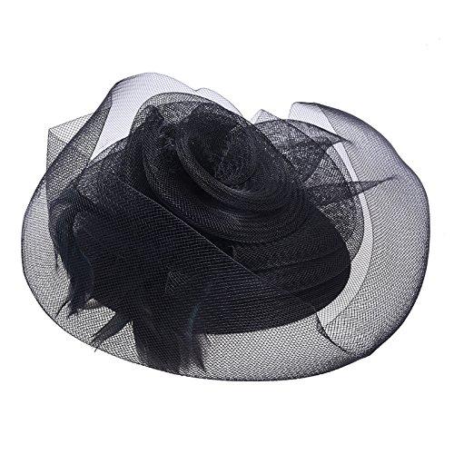 TOOGOO(R) 1x Plume organza Mini Chapeau pinces a cheveux Ceremonie fascinateur Noire Rose NOUVeAU