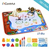 Conthfut Doodle Drawing Mat, Water Doodle Mat 100 X 70 CM 9 Colors Aqua Magic Mat Educational Toys for Boy Girl Toddlers Age 1- 12