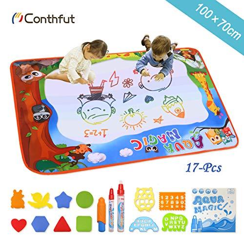 Conthfut Kids Toddler Wasser Zeichnen Matte Toy mit 2 Stiftes, 100 x 70 cm, 1 Bürste und 12 Ziehformen Aqua Drawing Mat