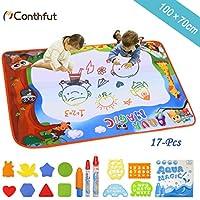 Conthfut Aqua Wasser Doodle Matte 100 x 70 cm, Kids Toddler Wasser Zeichnen Malmatte mit 3 Magic Stifte und 12 Stempelset - Geburtstag Geschenke für Kinder